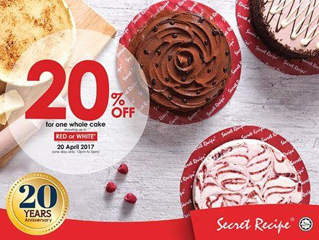 Secret Recipe 20% Off for the Whole Cake Promotion