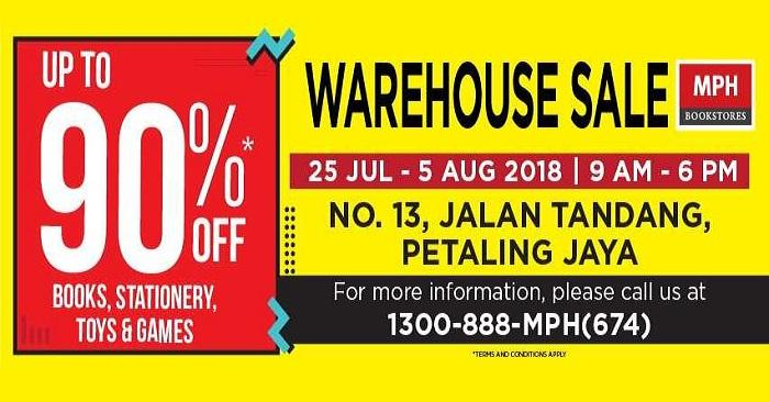 MPH Warehouse Sale Up To 90% OFF (25 July 2018 - 5 August 2018)