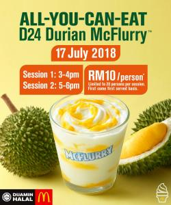 McDonald's Malaysia All You Can Eat D24 Durian McFlurry (17 July 2018)