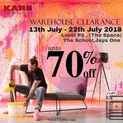 KARE Warehouse Clearance Up To 70% OFF at Jaya One (13 July 2018 - 22 July 2018)
