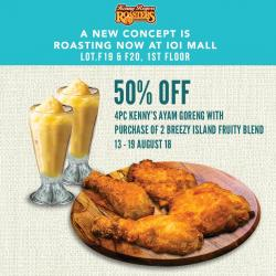 Kenny Rogers ROASTERS 50% off 4pc Kenny's Ayam Goreng at IOI Mall Puchong (13 August 2018 - 19 August 2018)
