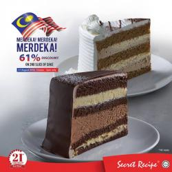 Secret Recipe Merdeka Promotion 61% Discount on Second Slice of Cake (31 August 2018)