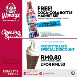 Wendy's Opening Specials FREE Coca-Cola Bottle Magnet Set & Frosty Treats Discount at The Gardens Mall