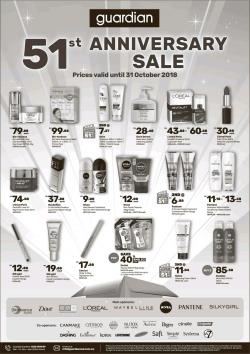 Guardian 51st Anniversary Sale Promotion (until 31 October 2018)
