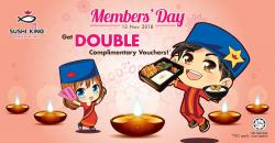 Sushi King Member Day Get Double Complimentary Voucher (13 November 2018)