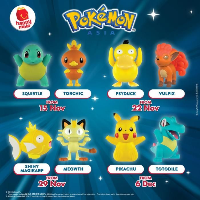McDonald's FREE Pokemon Happy Meal Toys (15 November 2018 - 12 December 2018)