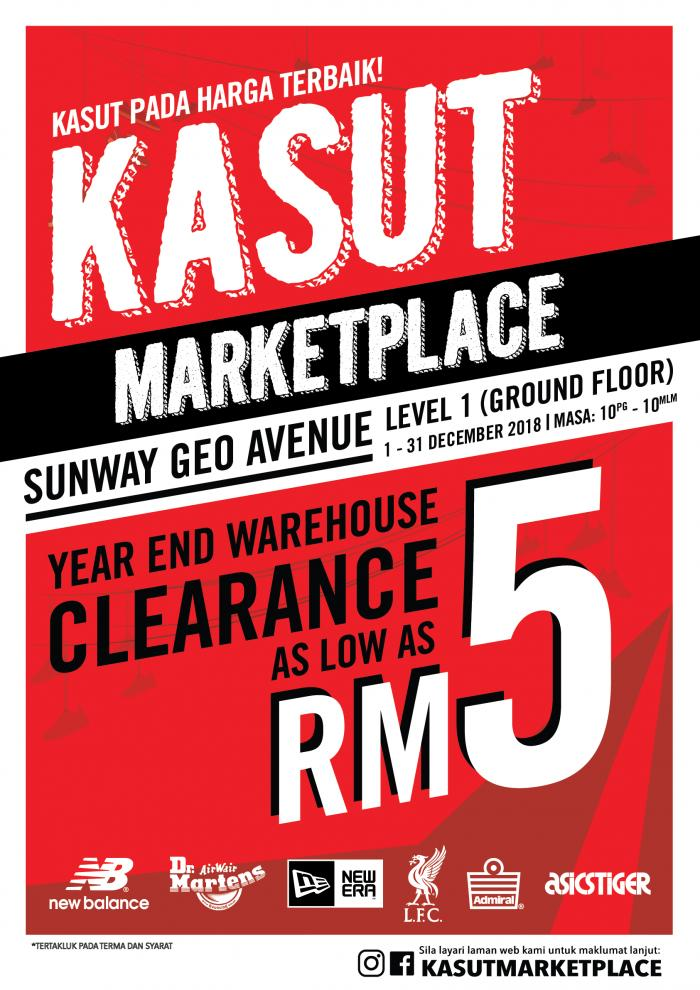 KASUT MarketPlace Year End Warehouse Clearance As Low As RM5 (1 December 2018 - 31 December 2018)