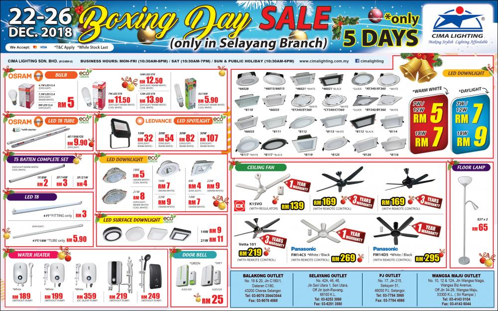 CIMA Lighting Selayang Boxing Day Sale (22 December 2018 - 26 December 2018)