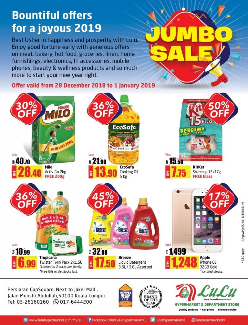 LuLu Hypermarket Jumbo Sale Promotion (28 December 2018 - 1 January 2019)