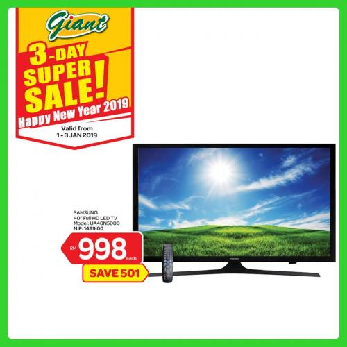 Giant New Year 3 Days Super Sale Promotion (1 January 2019 - 3 January 2019)