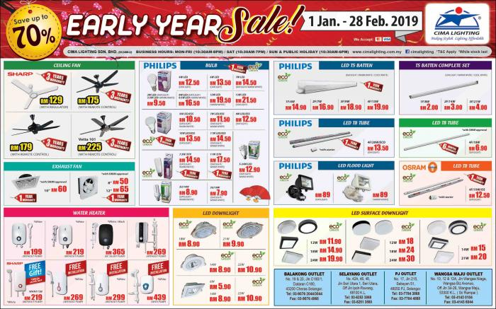 CIMA Lighting Early Year Sale Promotion (1 January 2019 - 28 February 2019)